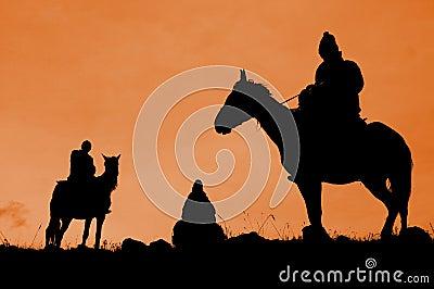 Three riders, Kyrgyzstan