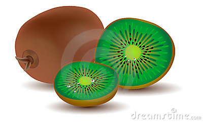 Three ripe kiwi fruits