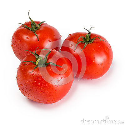 Free Three Ripe Red Tomatoes  On White Background Stock Photography - 96924582