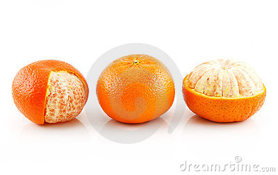 Three Ripe Tangerine Fruits Isolated on White