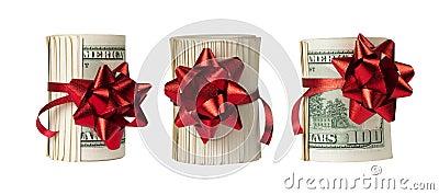Three rolls of $100 bills