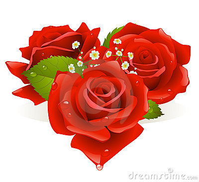 Free Three Roses In The Shape Of Heart Stock Photography - 12483252