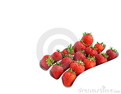 Three rows of strawberries on white