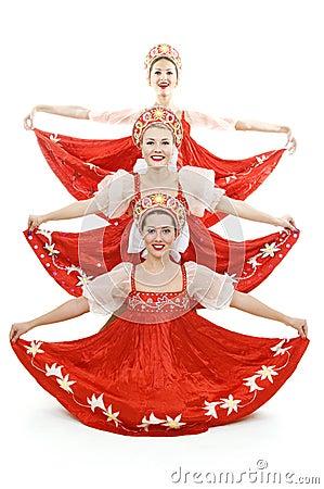 Three russian beauties standing like christmas tre
