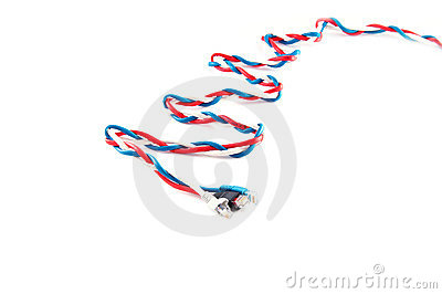 Three russian flag color patchcords over white