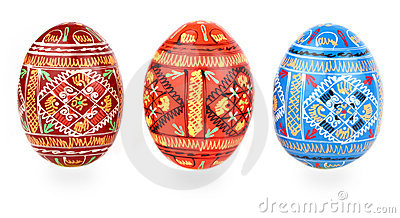 Three russian tradition easter eggs abreast over w