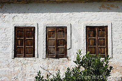 Three rustic Windows wooden Closed
