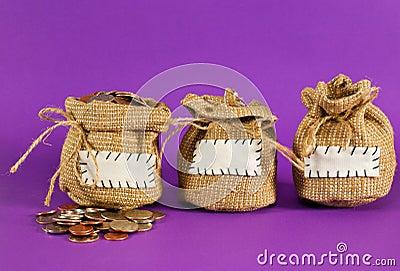 Three sacks full of coins