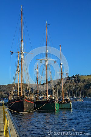 Free Three Sailing Boats Dartmouth Devon UK Stock Photography - 106042262