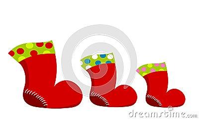 Three Santa boots