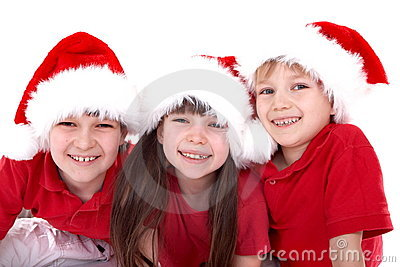Three Santa kids