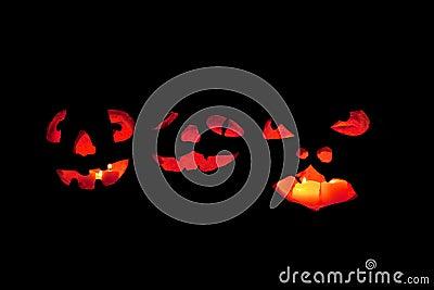 Three scary jack o lantern faces