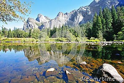 Three scenic rocky peaks