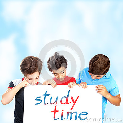 Free Three School Boys With Text Board Stock Images - 33133884