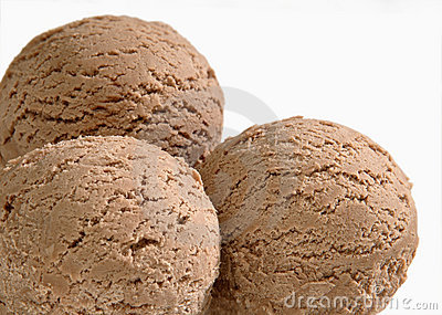Three scoops of chocolate ice cream