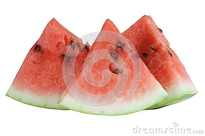 Three segments of the red watermelon