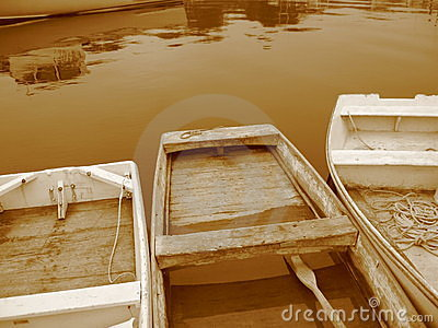 Three Sepia Rowboats