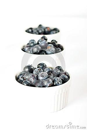 Three servings of blueberries