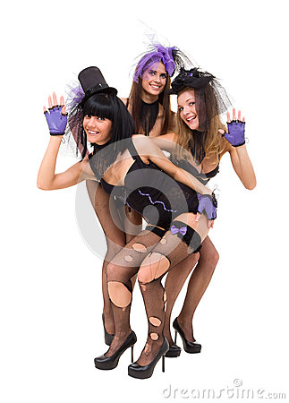 Three sexy women wearing black lingerie posing