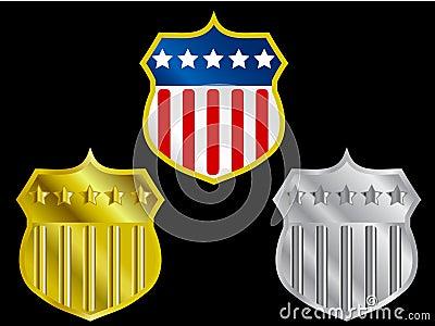 Three shields with US flag