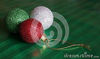 Three Shiny Christmas Baubles