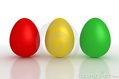 Three Shiny Eggs in a Line - Red, Yellow, Green