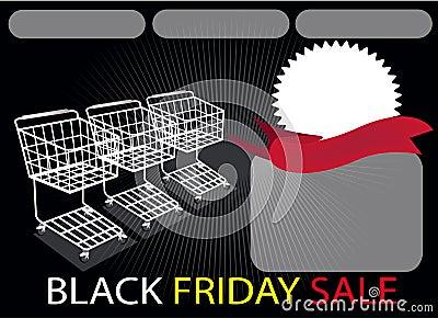 Three Shopping Carts and Banner on Black Friday Ba