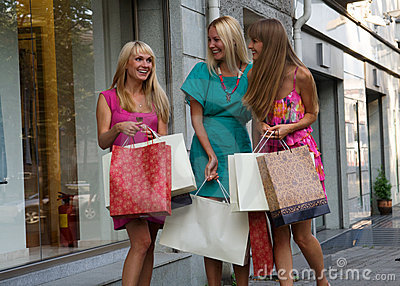 Three shopping friends