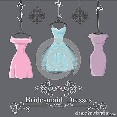 Free Three Short Bridesmaid Dresses Hang On Ribbons Royalty Free Stock Images - 55553139