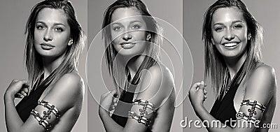 Three shots of pretty woman