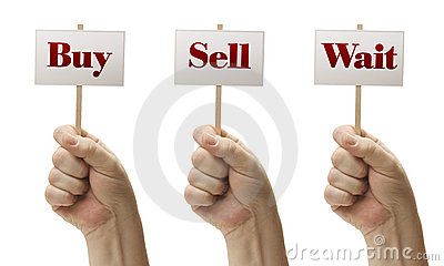 Three Signs In Fists Saying Buy, Sell and Wait