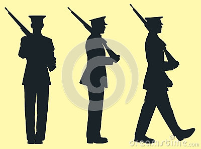 Three Silhouette Soldiers Vector Illustration
