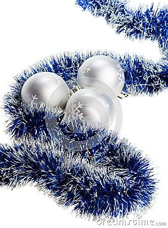 Free Three Silver Christmas Balls Stock Images - 6905184