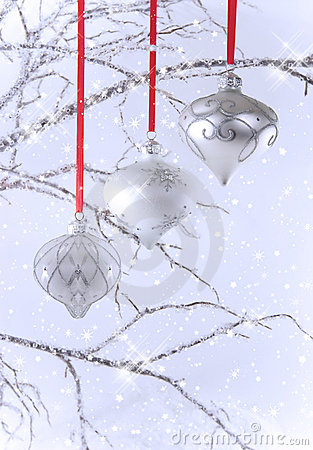 Three Silver Christmas Ornaments with Snow