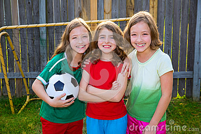 Three sister girls friends soccer football winner players