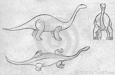 Three sketches of a dinosaur