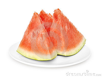Three slices of watermelon