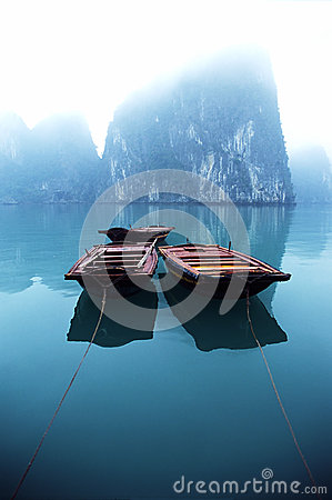 Boats in mist of Halong Bay, Vietnam