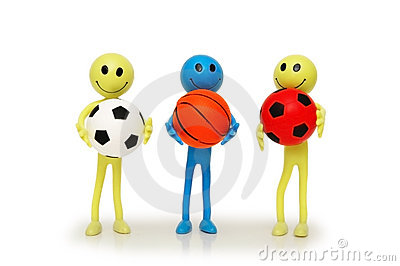 Three smilies with footballs