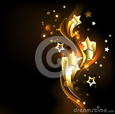 Free Three Soaring Gold Stars On Black Background Royalty Free Stock Photo - 109717145