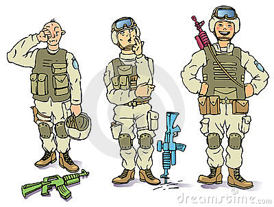 Three soldiers - the sad, the thoughtful and the h