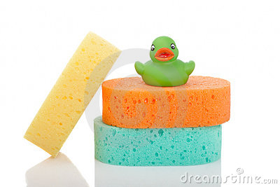 Three sponges and rubber duck