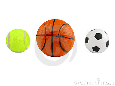 Three Sports Balls Over White Stock Photo - Image: 13132790