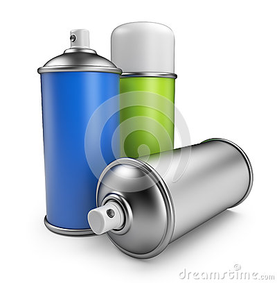 Three spray can. 3D icon isolated