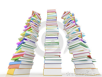 Three stack of books on white