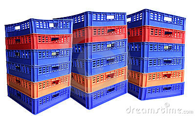 Three stack of plastic crates