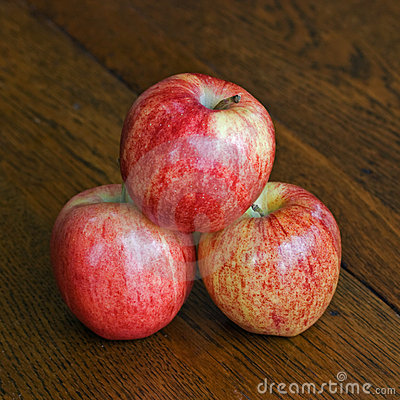 Three Stacked Gala Apples
