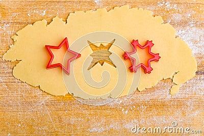 Three stars in cookie dough