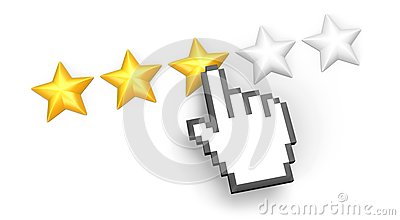Three stars rating. Hand cursor.