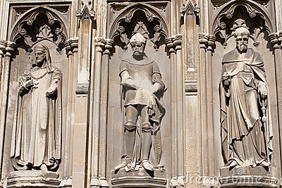 Three statues in the Canterbury Cathedral